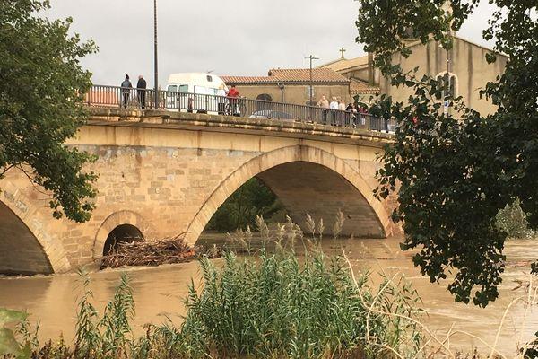 L'eau est montée très haut lors des intempéries dans l'Aude du 15 octobre 2018.