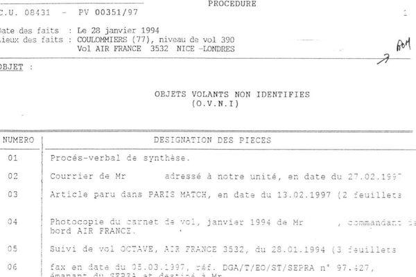 """""""OVNI"""" : un extrait d'un procès-verbal de la gendarmerie, dans le cadre du dossier de Coulommiers."""