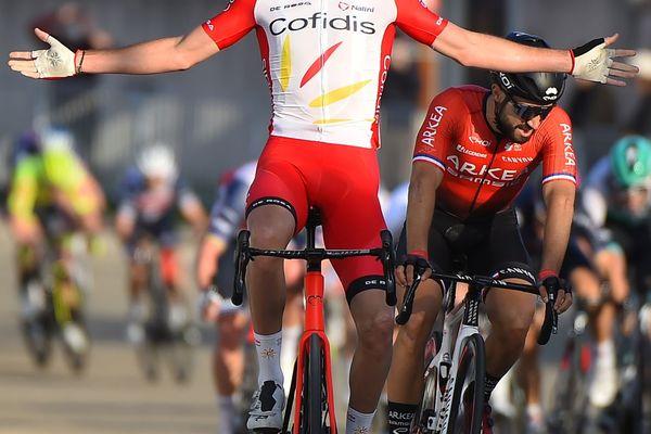 Le Français Christophe Laporte, de l'équipe Cofidis, vainqueur de la 1ère étape de l'Etoile de Bessèges 2021