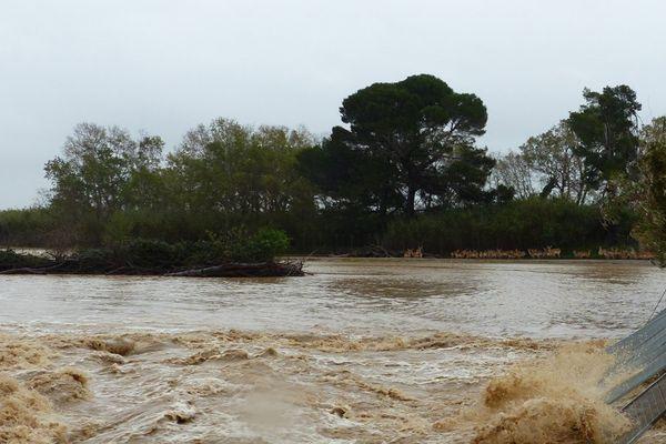 Courant d'eau dans la plaine de la réserve africaine de Sigean après les inondations novembre 2014