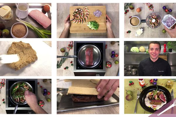 Les grandes étapes de la recette du magret en croûte de figues
