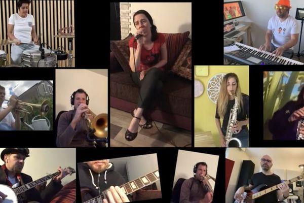 """Les 9 artistes de l'orchestre limougeaud Aloha reprennent """"Chanson sur une drôle de vie"""" à distance."""