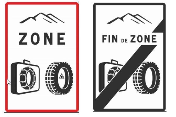 B58 : Entrée de zone d'obligation d'équipements en période hivernale / B59 : Sortie de zone d'obligation d'équipements en période hivernale