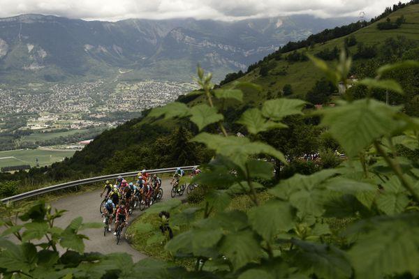 Les coureurs du critérium du Dauphiné près de La Combe-de-Lancey (Isère) le 8 juin 2018.