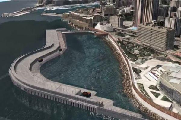 Des caissons immergés serviront à protéger le nouveau quartier de l'assaut des vagues.