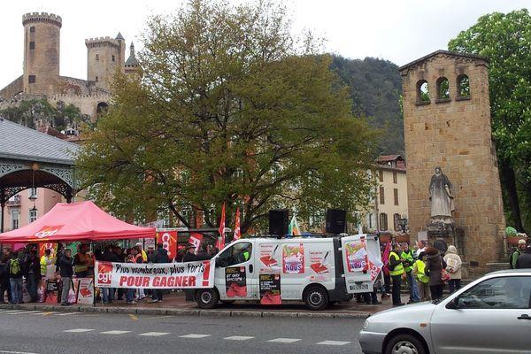 La CGT a appelé à un rassemblement sur les allées Villotes à Foix pour protester contre la loi de sécurisation de l'emploi