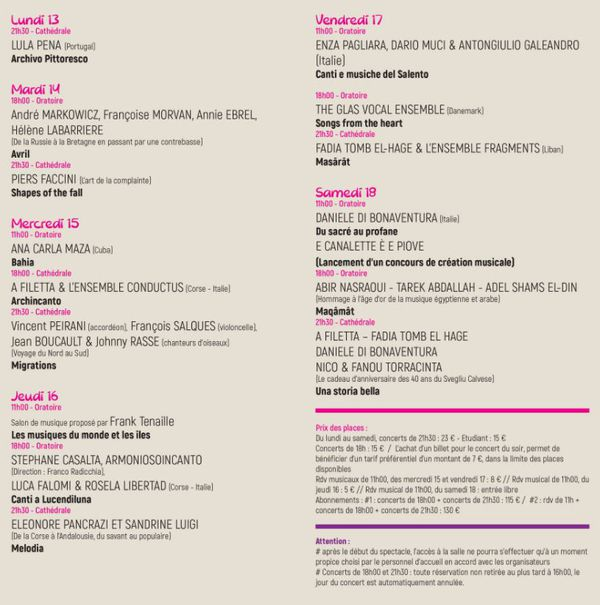 Programme détaillé de la 33ème édition des Rencontres de chants polyphoniques de Calvi.