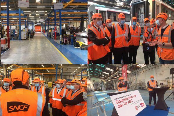 Le Président de Région et la SNCF venus au Technicentre officialiser le partenariat lié à l'occasion de l'opération mi-vie des TER, l'occasion de donner un nouvel élan à la structure périgourdine