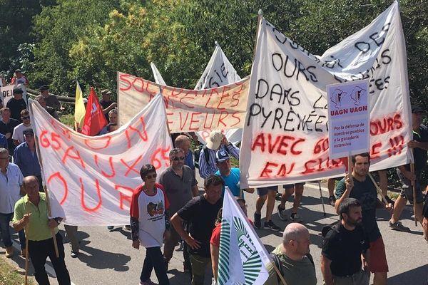 Manifestation des éleveurs et opposants à l'introduction de l'ours dans les Pyrénées ce jeudi à l'Ainsa (Espagne)