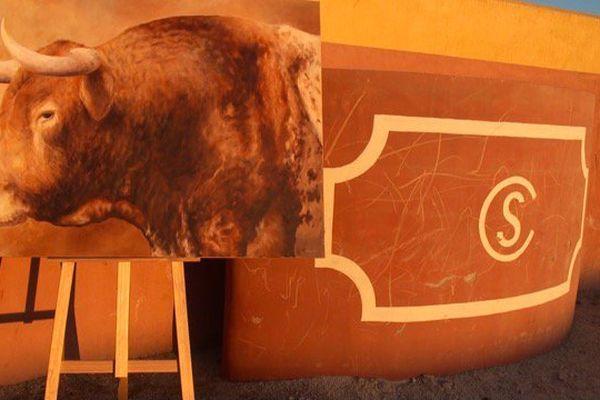 L'étalon Campesino vu par la peintre Sandra Morillas. Ce tableau et d'autres œuvres taurines de cette artiste seront exposés à Arles (Espace Van Gogh) pendant la feria d'arles.