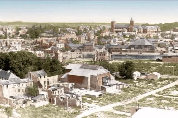 Une vue de Caen en 1948 reconstituée et colorisée