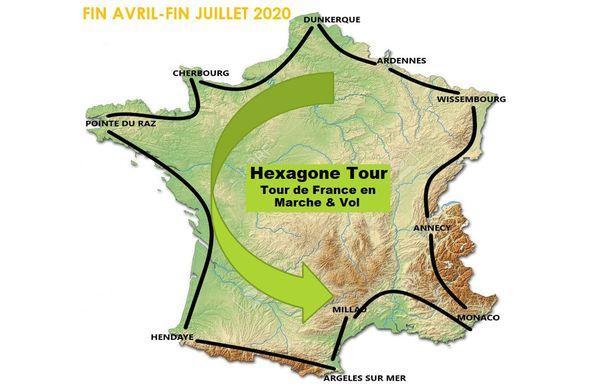 La carte de l'Hexagone Tour 2020