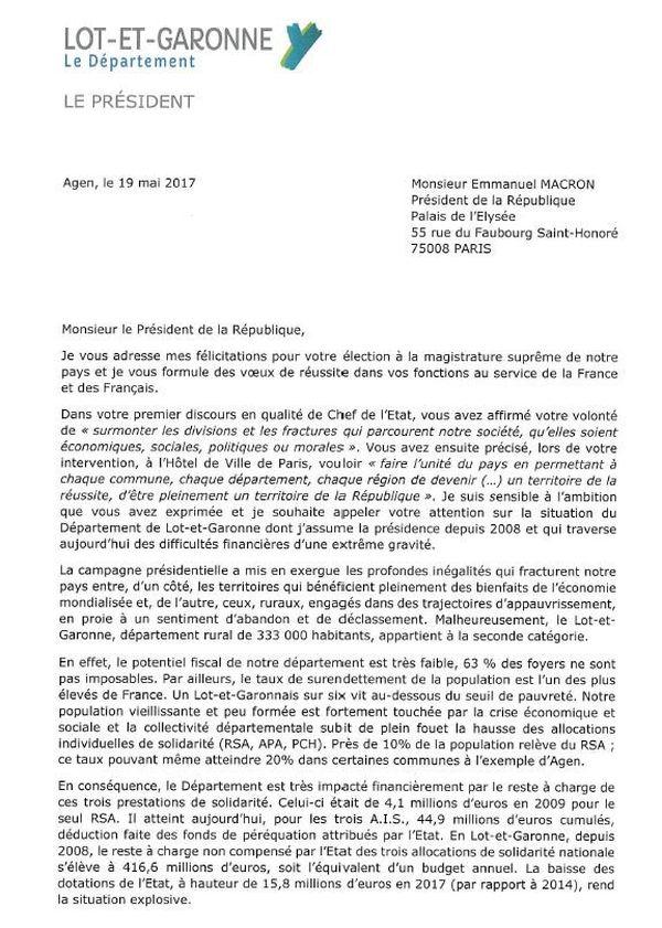 Voici la lettre que Pierre Camani a adressée au président de la République.