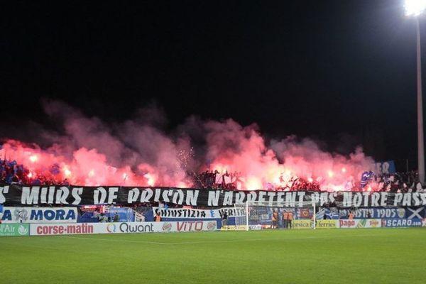 21/12/16 - Banderole des supporters du SC Bastia, lors du match SCB-OM (1-2)