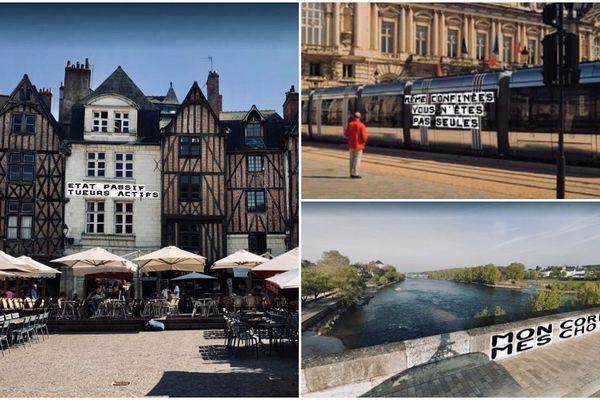 Les collages virtuels réalisés par les militantes de Tours.