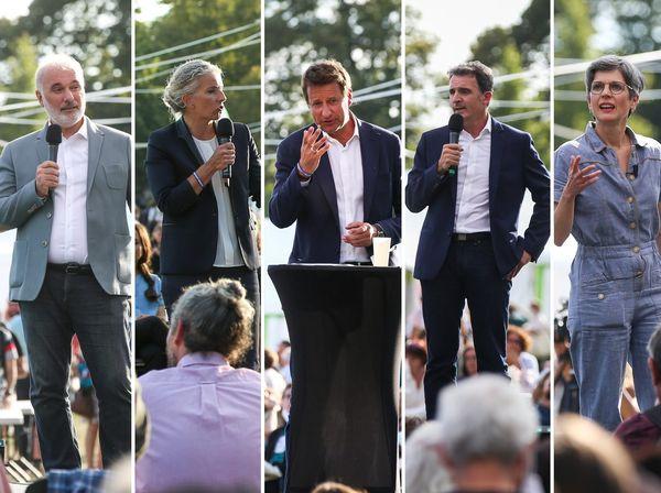 Les cinq candidats à la primaire des écologistes.
