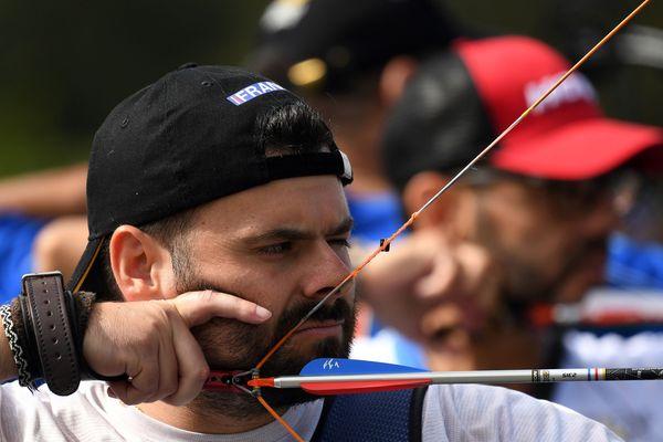 Le gendarme nancéien Florian Eddy Cieplak à l'épreuve de tir à l_arc individuel des Invictus Games à Sydney, le 25 octobre 2018.