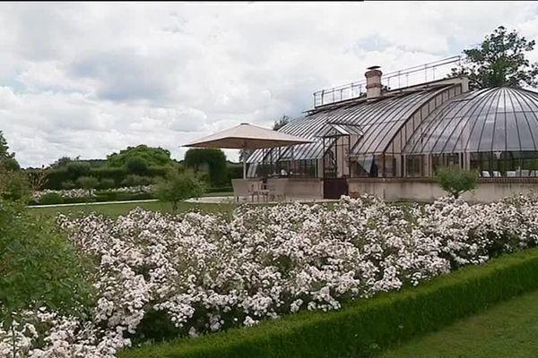 La roseraie a été conçue en 2003 autour de l'Orangeraie. Les triangles et carrés de buis contiennent la lavande et les rosiers.