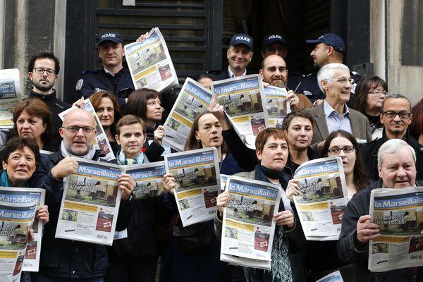 Manifestation des employés du journal La Marseillaise, devant le tribunal de commerce de Marseille, dans le cadre de la cessation de paiement du journal, le 24/11/2014