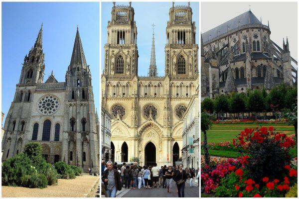 Les cathédrales de Chartres, Orléans et Bourges.