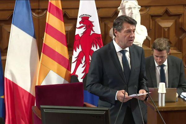 Christian Estrosi s'exprime sur la crise sanitaire quelques minutes après son élection à la présidence de la Métropole Nice Côte d'Azur.
