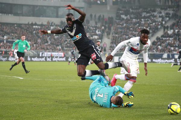 Bordeaux 28 Janvier 2018 FOOTBALL Stade Matmut Atlantique Football saison 2017 - 2018 Championnat de France LIGUE 1 23°Journée Girondins de BORDEAUX - LYON Faute sur POUNDJE Second Penalty