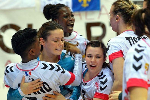 La joie des Handballeuses brestoises après leur victoire face à Metz