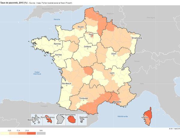 Le taux de pauvreté par département. En orange foncé, les départements les plus touchés.
