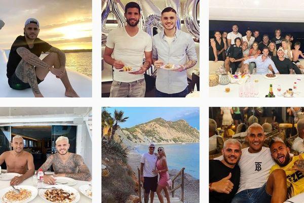 Le fil Instagram de l'attaquant parisien Mauro Icardi, en vacances à Ibiza avec notamment Neymar et Navas.