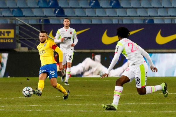 Gaëtan Weissbeck, capitaine et buteur lors du match opposant le FC Sochaux-Montbéliard au Valenciennes FC, le 15 février 2021 à Bonal