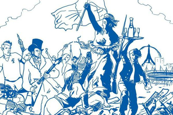 """""""Nos libertés guidant le peuple"""" par Pascal Labranche, dessinateur de Nolay, en Côte-d'Or."""