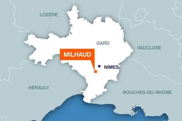 Carte Milhaud (Gard)