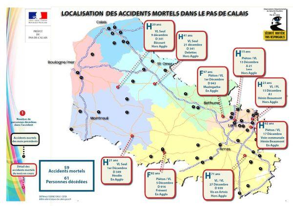 La carte des accidents mortels en décembre dans le Pas-de-Calais.