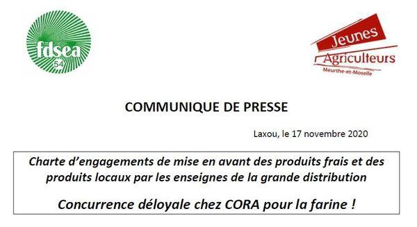 Capture du communiqué de presse des agriculteurs de Meurthe-et-Moselle.