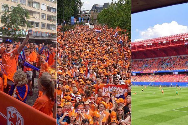 Les supporters néerlandais défilent dans les rues de Valenciennes en amont du match contre le Cameroun le 19 juin 2019.
