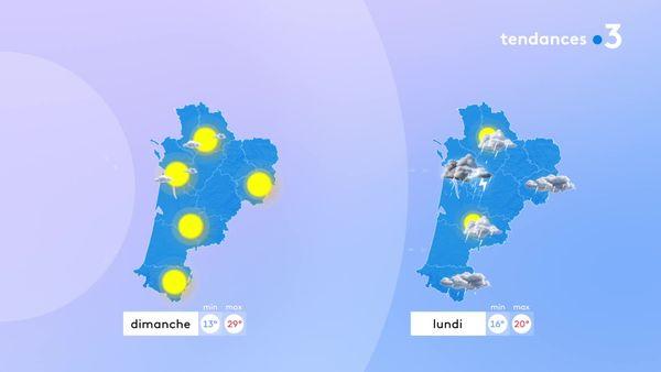 Il faudra profiter de la journée de dimanche car elle sera très belle avec des températures estivales. Lundi, les averses orageuses seront de retour...