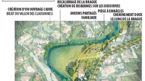 Projection du secteur du Hameau de la Brague, à Biot, APRES le plan de réaménagement de la CASA.