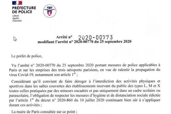 Le décret rectificatif a été signé aujourd'hui par le préfet de police de Paris Didier Lallemant.