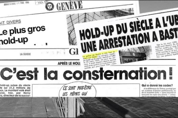 ILLUSTRATION - Le dimanche 25 mars 1990, 31,4 millions de francs suisses sont volés à l'Union des banques suisses (UBS) de Genève.