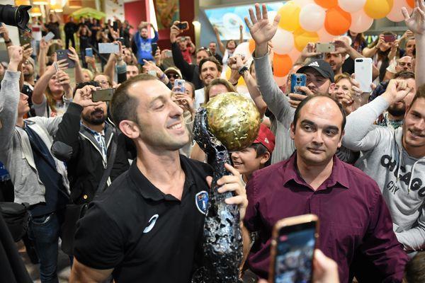 Retour des handballeurs du MHB à l'aéroport de Montpellier après leur victoire à Cologne le 28 mai 2018