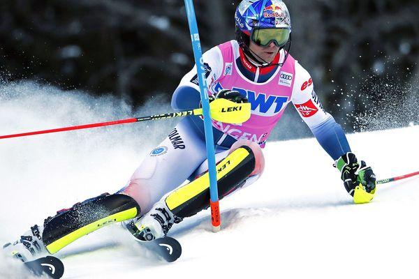 Janvier 2020, le skieur français Alexis Pinturaul en piste à Wengen (Suisse) lors d'une épreuve de la Coupe du monde de ski alpin.