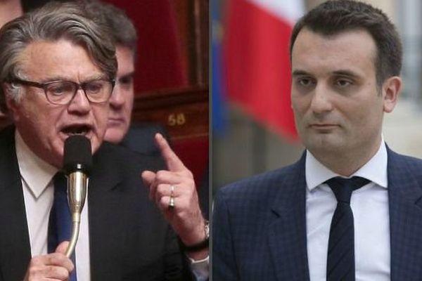 Gilbert Collard, député du Gard apparenté FN, (à gauche) et Florian Philippot, vice-président du FN