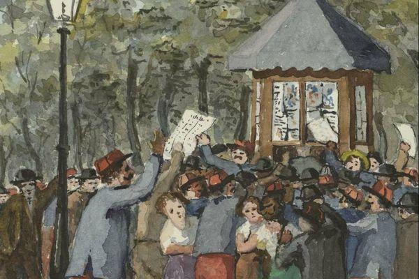 Au kiosque à journaux - Aquarelle extraite de l'un des Manuscrits du Lieutenant-Colonel Guillaume Cullard (Bibliothèque Patrimoniale et d'Etudes de la Ville de Dijon)