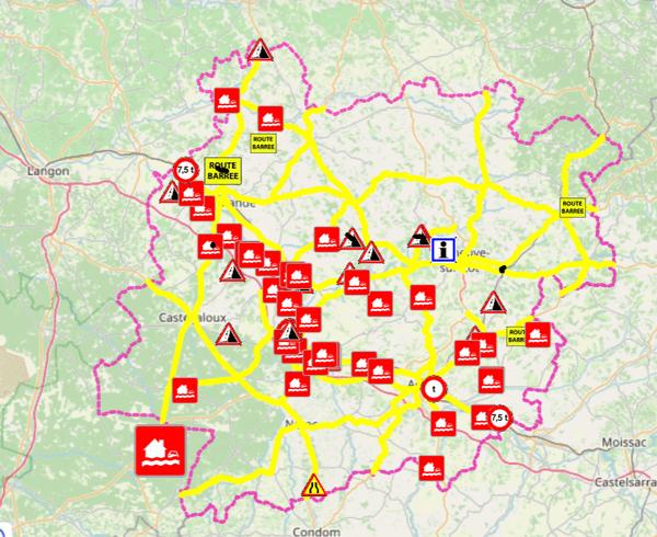 De nombreuses routes sont coupées dans le Lot-et-Graonne suite à la montée des eaux.