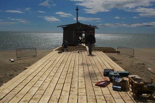 La Palme (Aude) - les travaux débutent pour une reprise d'activité des salins - 10 juin 2013.