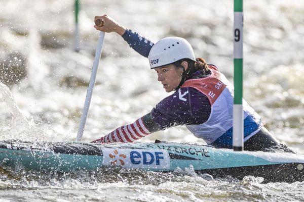 Lucie Prioux, aux championnats d'Europe de slalom à Prague, le 19 septembre 2020.
