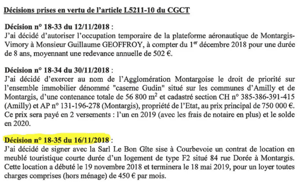 Capture d'écran du procès-verbal du Conseil Communautaire de l'Agglomération Montargoise et Rives du Loing. © Radio France -