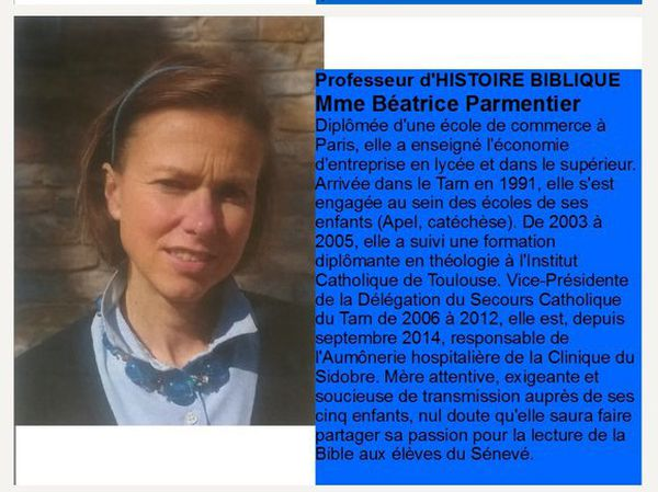 Béatrice Parmentier est professeur d'Histoire Biblique et l'un des membres actifs de la Manif pour Tous dans le Tarn.