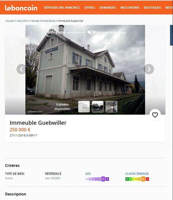 L'annonce de la vente de la gare de Guebwiller parue sur Leboncoin