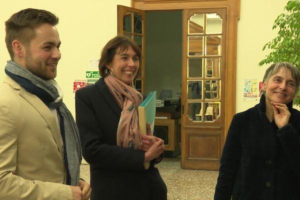 Frédérique Macarez est largement réélue maire de Saint-Quentin dans l'Aisne, dès le premier tour des élections municipales le dimanche 15 mars 2020.